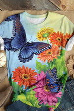 Holiday Butterfly Floral Print Paneled Short Sleeves T-shirt