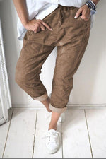 Denim Solid Self-tie Harem Jeans Pants