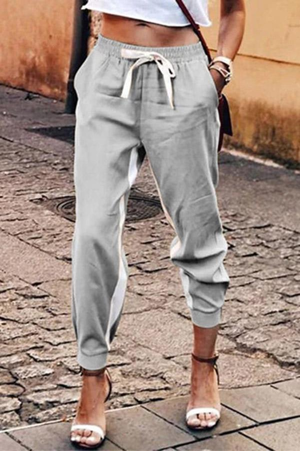 Self-tie Pockets Solid Casual Pants