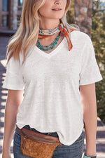 Solid V Neck Loose Casual T Shirt
