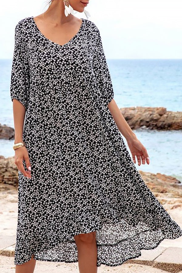 Elegant Floral Print V-neck Half Sleeves Midi Dress