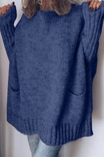 Loose Solid Knitted Ribbed Paneled Batwing Holiday Sweater