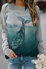 Whale Diving Into Seabed Gradient Landscape Print Casual Sweatshirt