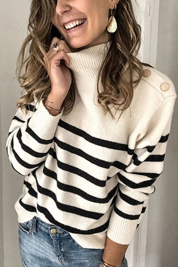 Casual Striped Jacquard Knitted Ribbed Turtleneck Sweater