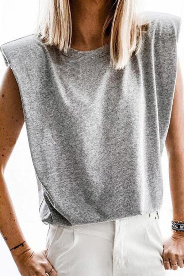 Sleeveless Solid Casual Crew Neck Tank Top