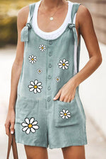 Daisy Print Casual Buttoned Paneled Pockets Lace Rompers