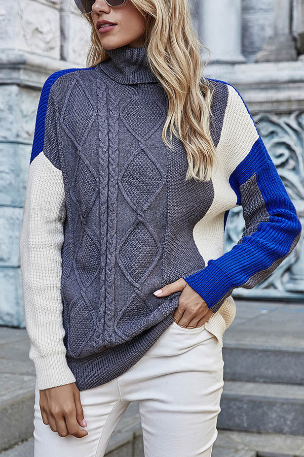 Holiday Turtleneck Knitted Color-block Tweed Ribbed Sweater