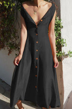 Solid Buttons Down Sleeveless V-neck Elegant Maxi Dress