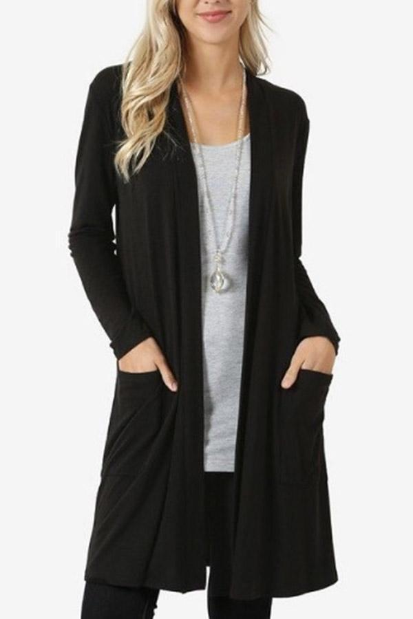 Casual Long Sleeve Open Front Flyaway Cardigan Sweater Plus Pockets