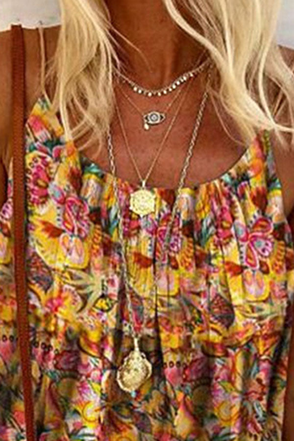 Bohemian Floral Print Sling Sleeveless Holiday Blouse