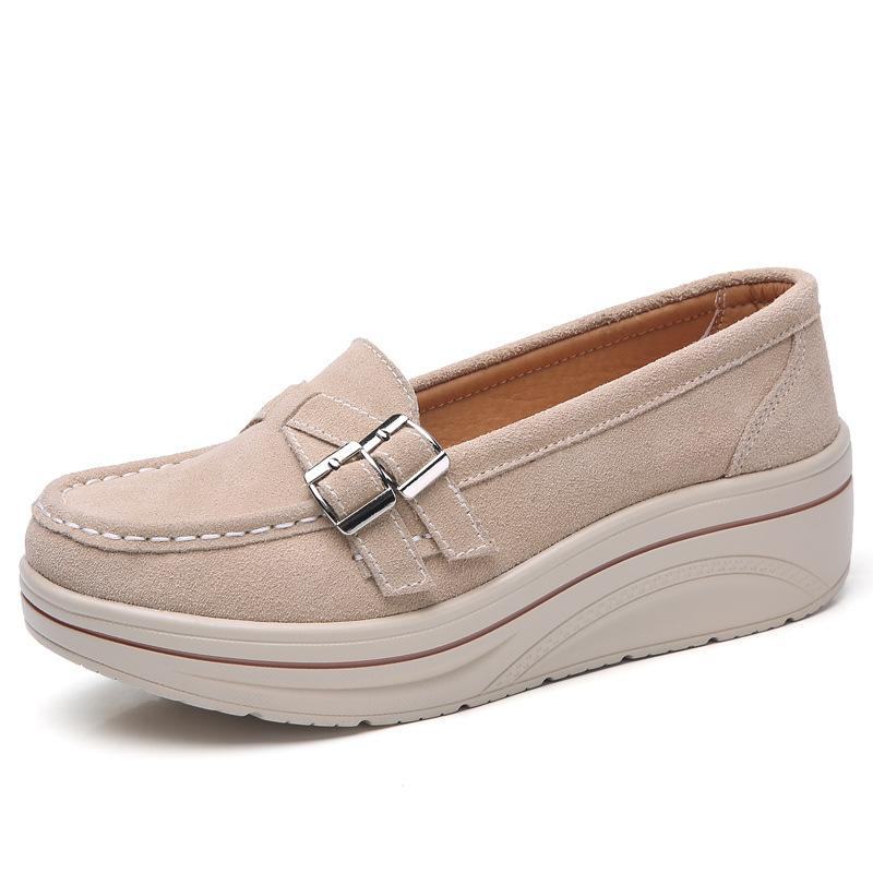 Solid Belt Buckle Med Height Casual Flats