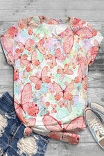 Butterfly Print Paneled Short Sleeves Casual T-shirt