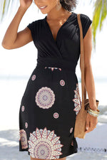 Cross Front V-neck Backless Graphic Print Holiday Mini Dress