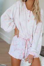Gradient Print Buttoned Pajamas Two-pieces Set