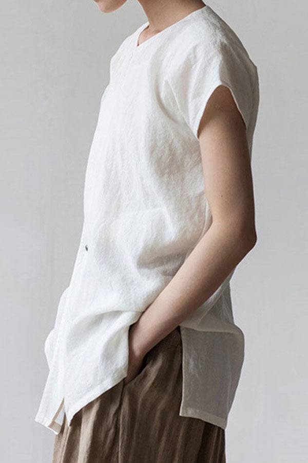 Solid Shift Buttoned Slit Casual Blouses
