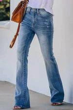 Simple Style Solid Paneled Cutout Pockets Bell-bottomed Jeans