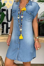 Paneled Solid Buttons Down Pockets Casual Denim Mini Dress