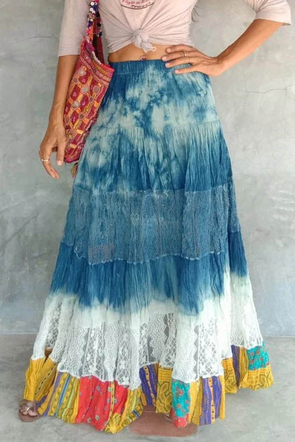 Vintage Paneled Gradient Print Lace Hollow Out Maxi Skirt