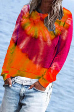 Casual Gradient Print Paneled Long Sleeves Sweatshirt