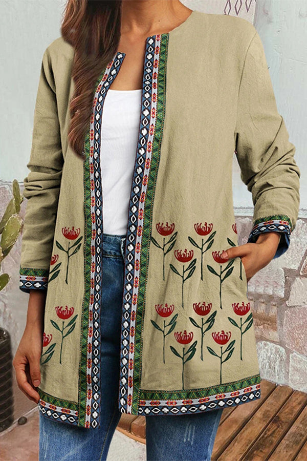 Floral Jacquard Vintage Open Front Striped Geometric Jacket Coat Outerwear