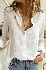 Solid Shift Long Sleeves Buttoned Casual Blouses