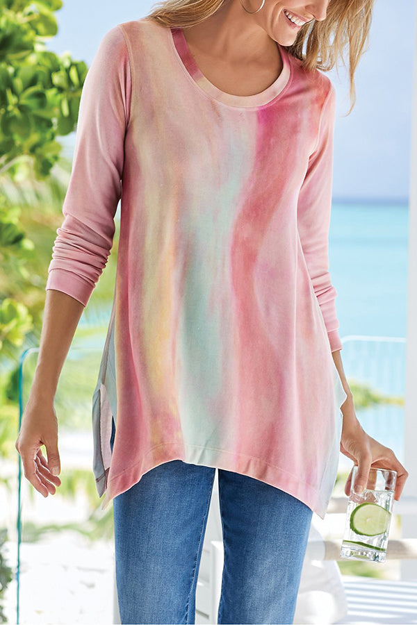 Gradient Print Casual Crew Neck Slit T-shirt