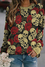 Halloween Party Skull Rose Print Paneled Vintage Sweatshirt