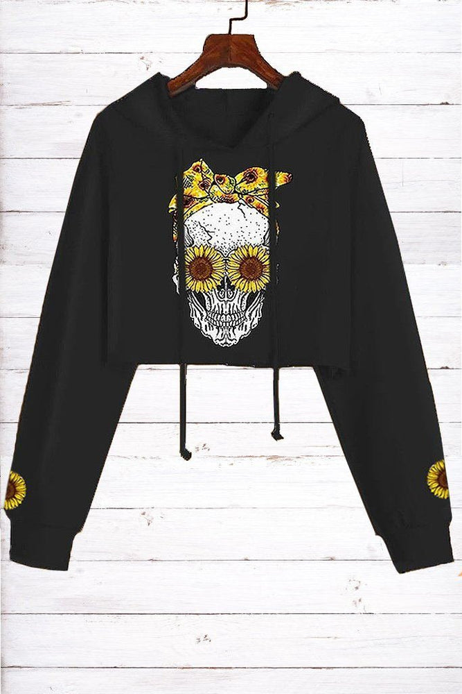 Sunflower Skull Print Drawstring Casual Cropped Hoodie