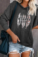 Colors Leaf Letter Print Paneled Pocket Front Drawstring Hoodie