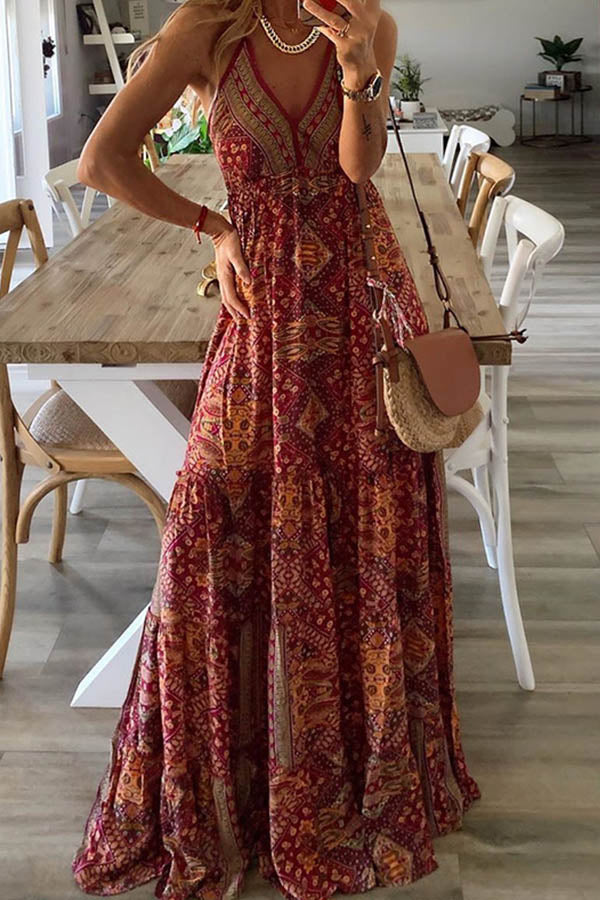 Bohemian Print Spaghetti Plunging Neck A-line Maxi Dress
