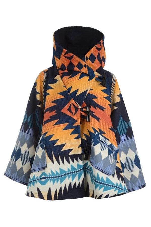 AZTEC Gradient Jacquard Horn Buckle Vintage Hooded Coat