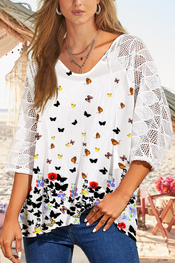 Butterfly Print Paneled Lace Hollow Out Casual Blouse
