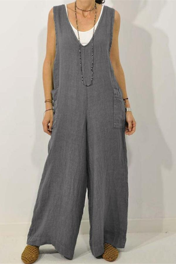 Sleeveless V Neck Side Pockets Wide Leg Jumpsuits