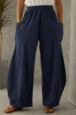 Solid Casual Elastic Paneled Side Pockets Wide Leg Pants