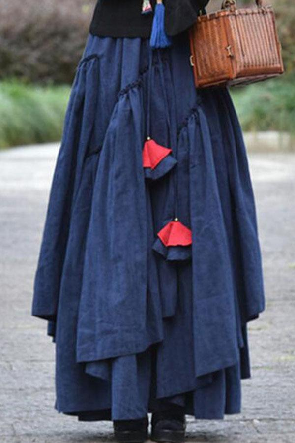 Vintage Solid Paneled Drawstring Maxi Skirts