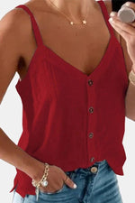 Spaghetti Buttons Down Casual Solid Tank Top
