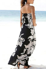 Strapless Graphic Print Paneled Holiday Maxi Dress