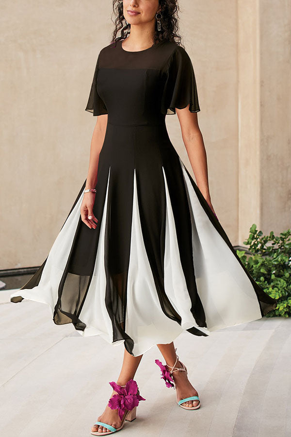 Color-block Paneled Elegant A-line Chiffon Maxi Dress