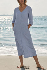 Solid V Neck 3/4 Sleeves Midi Dress