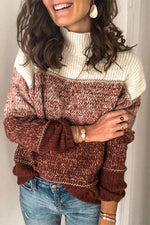 Color-block Striped Jacquard Knitted Ribbed Casual Sweater
