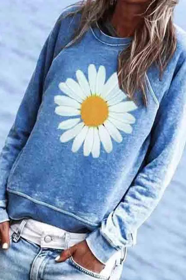 Daisy Print Paneled Casual Long Sleeves Sweatshirt