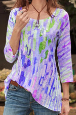 Abstract Print 3/4 Sleeves Vintage T-shirt