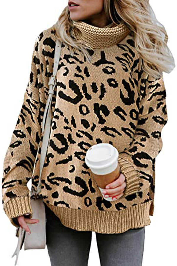 Leopard Jacquard Turtleneck Holiday Knitted Ribbed Sweater