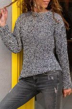 Mixed Color Knitted Casual Ribbed Crew Neck Sweater