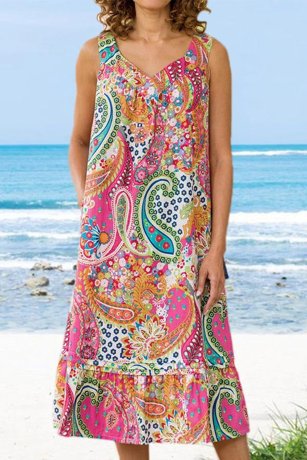 Bohemian Print Spaghetti V-neck Holiday Midi Dress