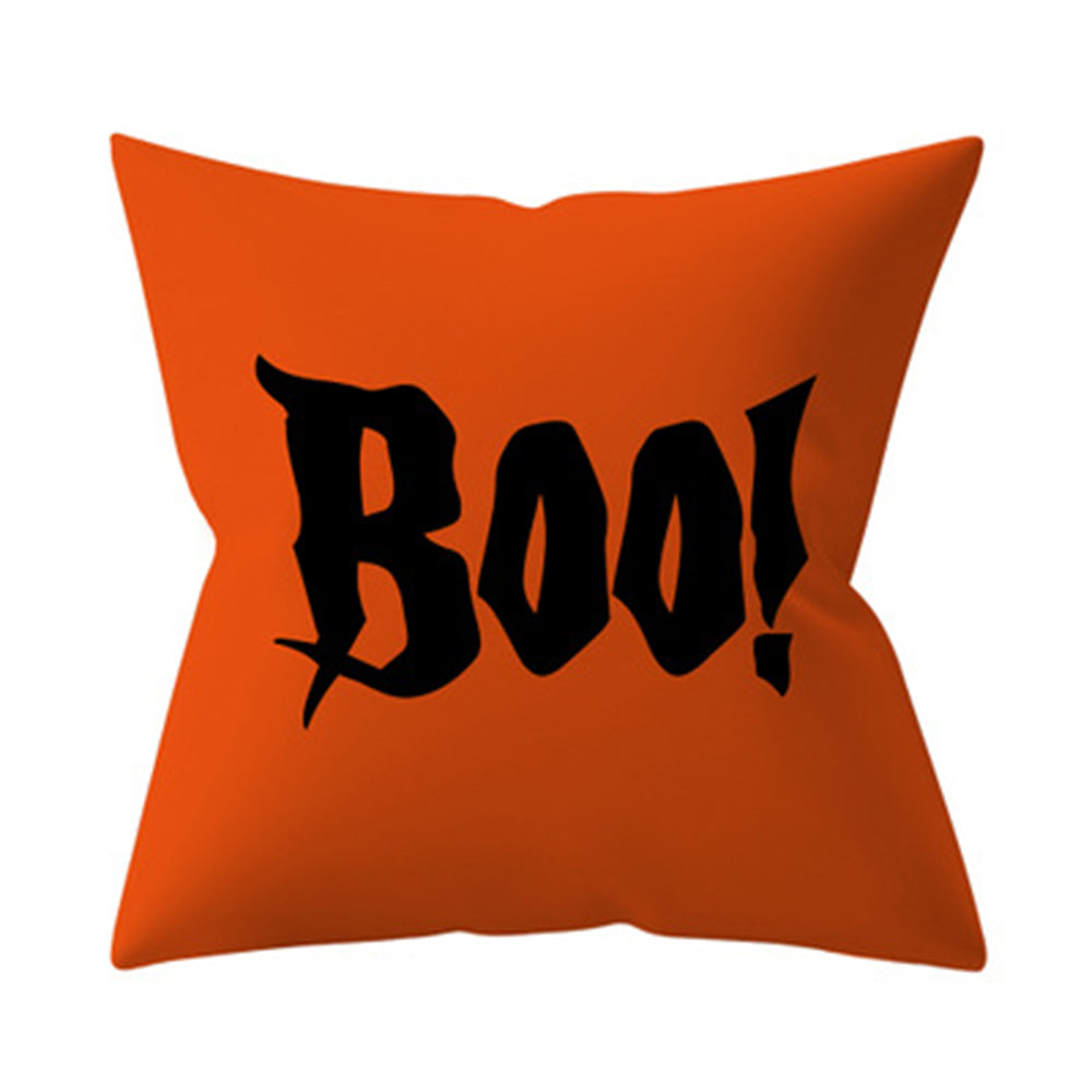 Halloween Letter Ghost Pumpkin Witch Castle Black Cat Print Pillow Case