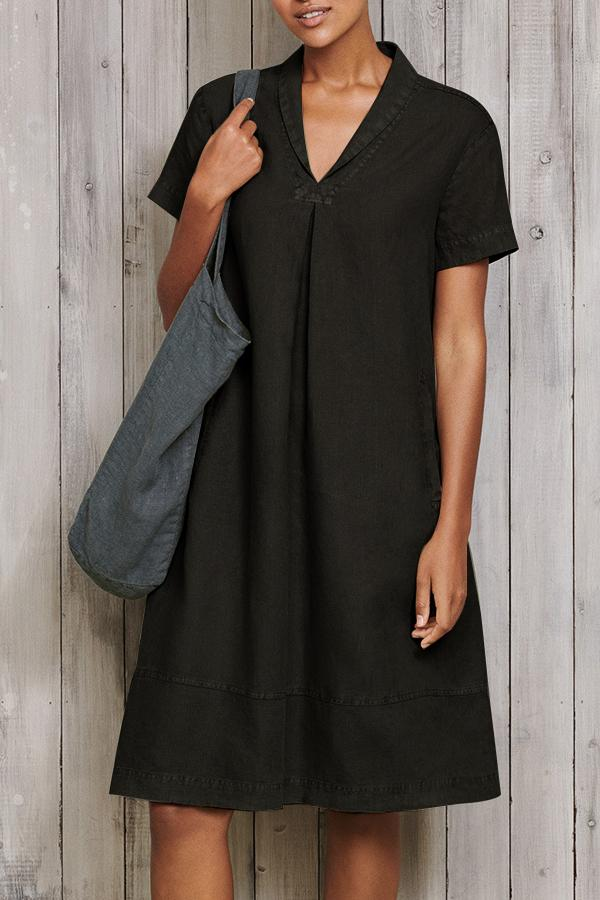 Paneled Solid Lapel Side Pockets Casual Midi Dress