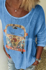 Casual Bus Print T-shirts