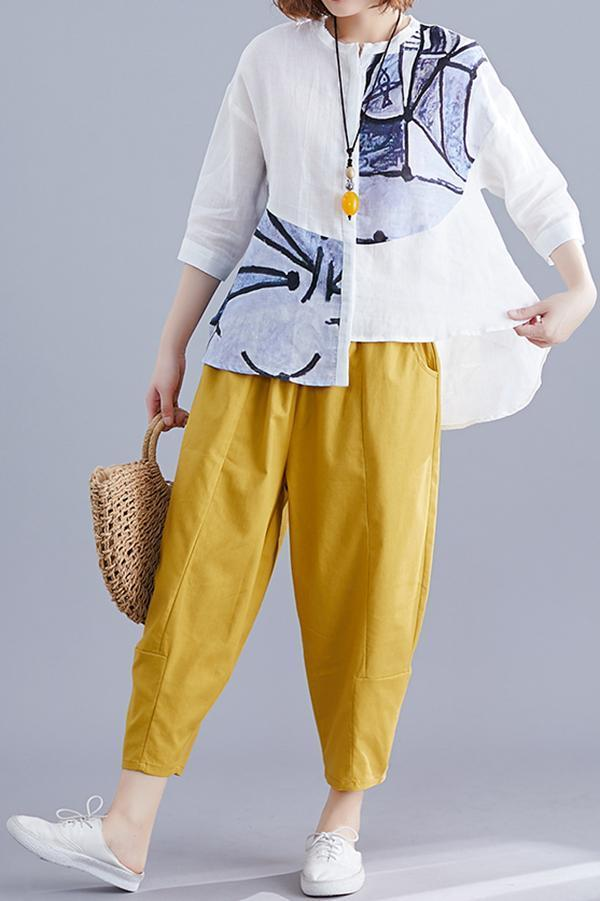 Asymmetric Print Top With Pant Two-piece Set