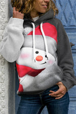 Christmas Cartoon Snowman With Hat Print Paneled Drawstring Hoodie
